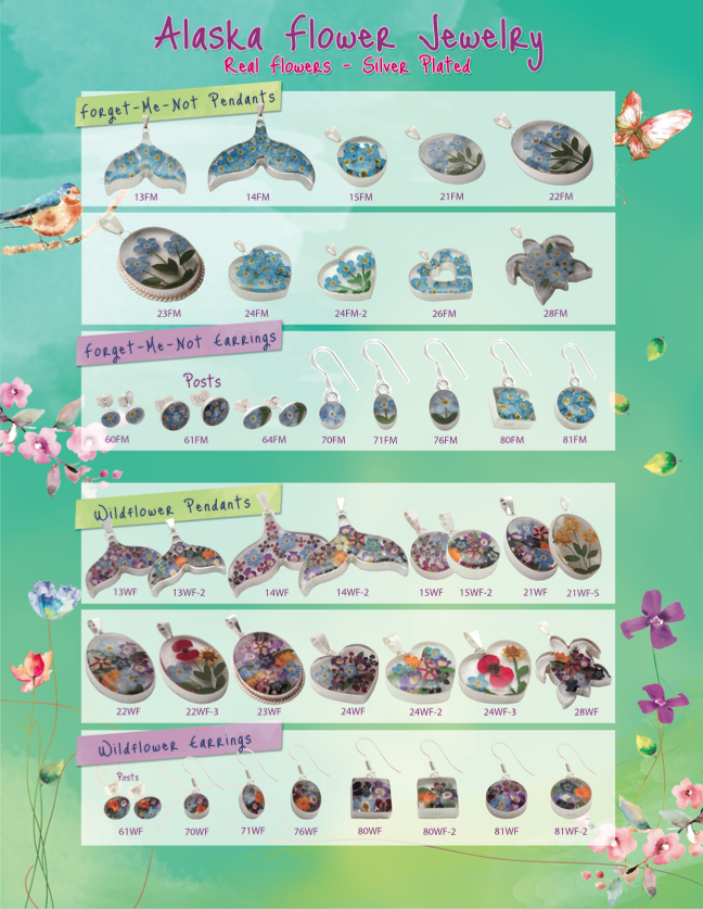 Real Natural Alaska Flower Jewelry Catalog